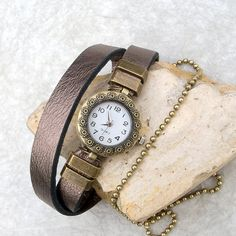 Womens leather watch bracelet, Wrist watch for women, Womens bronze leather watch