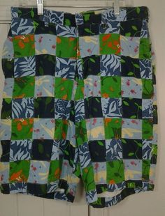 ABERCROMBIE & FITCH PATCHWORK SHORTS 34  TROPICAL Beachy Gator Lined  FLAT FRONT #AbercrombieFitch #CasualShorts