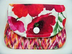 Card keeper in fantasia floral credit card caddy business card card keeper in ava poppies in cream credit card caddy business card holder ready to ship colourmoves