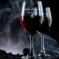 "Custom Engraved Wine Glasses ""Rings"" - Kustom Products Inc"