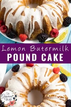 Flavored with lemon zest and juice, infused with a simple lemon syrup, and topped with a sweet lemon glaze, this homemade buttery soft Lemon Buttermilk Pound Cake is the ultimate dessert for lemon lovers. Sweets Recipes, Easter Recipes, Cupcake Recipes, Baking Recipes, Cupcake Cakes, Lemon Buttermilk Pound Cake, Lemon Ricotta Cake, Pound Cake Recipes, Pound Cakes