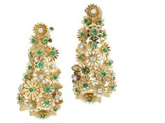 A pair of diamond and emerald earrings, Cartier, French signed Cartier, France, no. 30866; with French assay mark; mounted in eighteen karat...
