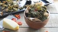 Kale chips flavored with pizza-style toppings are an easy healthy snack