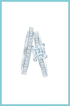 Tiffany & Co. Grace diamond engagement ring and wedding band.