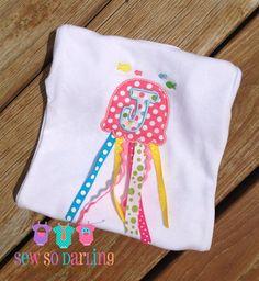 Jellyfish Onesie, monogrammed baby girl onesie - by SewSoDarling