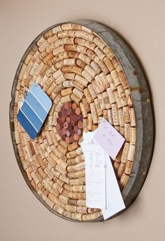 Cork Board with Wine Barrel Ring Border.Where can I get a wine barrel ring? Wine Craft, Wine Cork Crafts, Wine Bottle Crafts, Wine Barrel Rings, Wine Barrels, Wine Cork Art, Cork Board Wine Corks, Wine Cork Table, Diy Cork Board