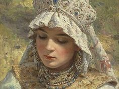 historyfan: Russian beauty in headdress by Konstantin Makovsky. I do not have a date for this painting but Makovsky's dates are OMG just so beautiful! View Original Source Here Russian Beauty, Russian Fashion, Russian Folk, Russian Art, Russian Style, Costume Russe, Marine Style, Foto Fantasy, Fantasy Hair