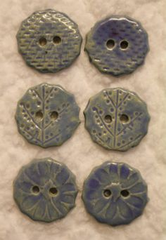 Glazed Ceramic Buttons in Creeping Blue - POTTERY, CERAMICS, POLYMER CLAY
