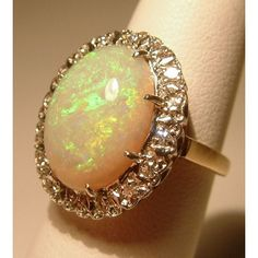 Vintage 14k Gold Opal Diamond Cocktail Ring Jewelry | Portero Luxury