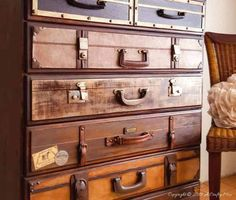 How to turn a boring chest of drawers into this classic stack of suitcases Funky Furniture, Plywood Furniture, Repurposed Furniture, Painted Furniture, Furniture Design, Painted Dressers, Chair Design, Design Design, Furniture Redo