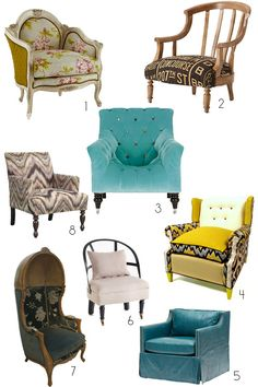 8 Chairs for an Eclectic Collector Look Decor Style Source List #apartmenttherapy