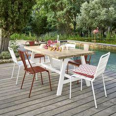 Gartentisch Für 6 8 Personen Aus Akazienholz Und Schwarzem Metall, L180