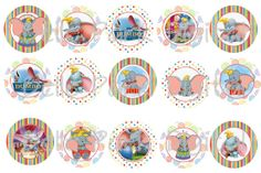 "Instant Download - Disney Dumbo INSPIRED - 1"" inch Round Images Bottlecap Images Digital File Instant Download"
