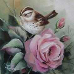 Artist Paulie Rollins (bird and pink rose) Art Floral, Vintage Birds, Vintage Art, Ouvrages D'art, China Painting, Bird Pictures, Watercolor Bird, Art Portfolio, Bird Prints