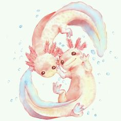 Day 7 : Under water creatures Axolotl - evermore-designs Axolotl, Cute Animal Drawings, Cute Drawings, Pretty Art, Cute Art, Creature Design, Art Inspo, Amazing Art, Fantasy Art