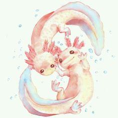 Day 7 : Under water creatures Axolotl - evermore-designs Animal Art, Art Drawings, Drawings, Cute Art, Illustration Art, Art, Cute Animal Drawings, Cute Drawings, Pretty Art