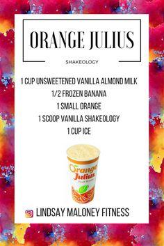 Orange Julius Shakeology-- Vanilla Shakeology Recipe 310 Shake Recipes, Protein Shake Recipes, Protein Shakes, Protein Smoothies, Fruit Smoothies, Vegan Shakeology, Beachbody Shakeology, Vanilla Shakeology, Orange Julius