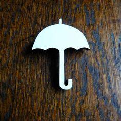 Umbrella Brooch. White. Laser cut wood. Recycled Pine. Jewellery. Handmade.