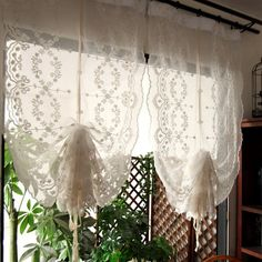 Pair of Fantasy Fairy Tale Shabby Chic White Embroidery Rod Pocket/Pinch Pleated Decorative Pull-up Sheer ss, French Country Style Country Stil, French Country Style, British Country, British Style, Blanc Shabby Chic, Balloon Curtains, Rideaux Design, Tatami, Roman Curtains