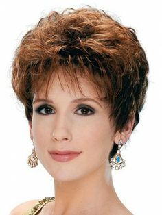 Newest Mature Lady Hairstyle Polish Brown Short Wavy Bouncy Venation Capless 100% Human Hair Wig