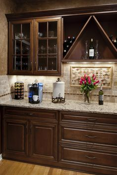 Small Kitchen Design With Cherry Wood Cabinets Cherry Wood Kitchen Cabinets, Cherry Wood Kitchens, Cherry Kitchen, Brown Cabinets, Updated Kitchen, New Kitchen, Kitchen Decor, Kitchen Design, Kitchen Ideas