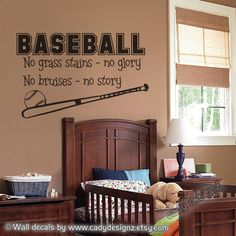 On SALE - Baseball Wall Decal - Sports - Boys Room Decor - Vinyl Wall Decal - Wall Art Quote - Vinyl Wall Sticker Lettering -  34 x 22. $19.50, via Etsy.