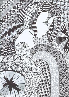 Cudnie zamyślona - Zentangle   Zendoodle   Op-art