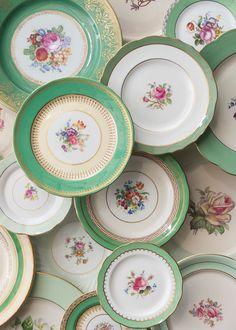 Antique Plates, Vintage Plates, Vintage Dishes, Vintage China, Decorative Plates, Antique China Dishes, Vintage Dinnerware, Vintage Pyrex, Green China