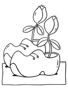 Kleurplaat klompen met tulpen