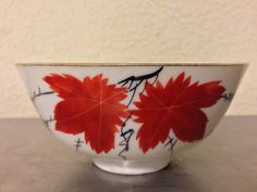 "#auction #Auction ""O Canada"" Red Maple Leaf Hand Painted Chinese Rice Bowl 4 Character Mark RARE"