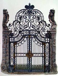 Beautiful wrought iron gate, perfect for a grand estate!