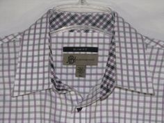 JHANE BARNES Shirt FLIP Cuff PURPLE Checked Button Up Size XL Men's