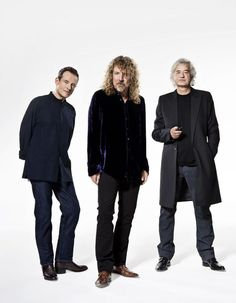 The remaining members of Led Zeppelin: L) John Paul Jones; C) Robert Plant; R) Jimmy Page.