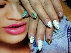 Nail Style :Stilleto Acrylic Nail Treatment Shellac UV Gel Polish & Opi Polish used with Uv gel overlay. Gold Stud Detailed. Resort to Nowhere Nail Art @idaliassalon.com