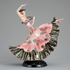 "Танцовщица фламенко"". Клеймо мануфактуры Wien Keramos, Скульптор Stefan Dakon, 1930-ые годы."