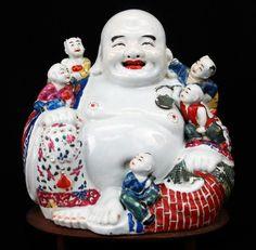 Beautiful Chinese Qing Period Porcelain Happy Buddha Statue