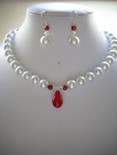 White Pearl Necklace with Red Crystals and Red Glass Pendant - $55.00
