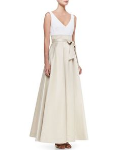 Sleeveless Tie Waist Combo Gown, Ivory/Champagne by Aidan Mattox at Neiman Marcus.