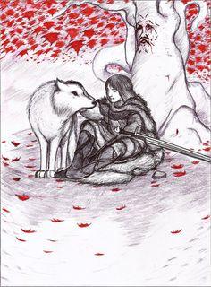 Jon Snow and his direwolf Ghost by UlrichofCraggenmoo.deviantart.com on @DeviantArt