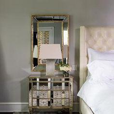 Paloma Contreras - bedrooms - mirror over nightstand, mirror above nightstand, gold trimmed mirror, gold leafed mirror, antiqued gold mirror...