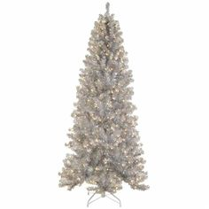6.5' Pre-lit Silver Tinsel Noble Pine Artificial Christmas Tree with... ($1,410) ❤ liked on Polyvore featuring home, home decor, holiday decorations, silver home decor and silver home accessories