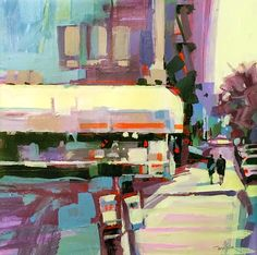 "A Painting a Day by Patti Mollica: Upper West Side Corner  15x15"",  Acrylic  $300  Cl..."