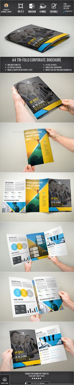 Trifold Brochure Corporate Business, Corporate Brochure, Business Brochure, Brochure Trifold, Brochures, Brochure Layout, Brochure Design, Brochure Template, Catalogue Layout