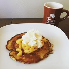 This is our way of starting #sunday - #homemade #organic #pancakes with #apple #ambrosia sprinkled with #cinnamon and topped with a hint of whipped cream #uniqueexperience #ticoroasters