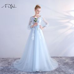 Find More Evening Dresses Information about ADLN Lace Formal Photo Dress Long Sleeve See Through Sky Blue Prom Evening Dresses 2018 New A line Party Wear Vestidos de Festa,High Quality photo dress,China evening dress Suppliers, Cheap prom evening dress from ADLN Official Store on Aliexpress.com