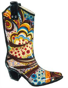how cute is this? rain boots styled like cowboy boots and with crazy-ass colors. $59.
