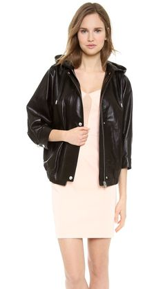 Leather Parka. AU$2,527.25 Batwing sleeves create a modern silhouette on a leather Alexander Wang jacket. A snap flap covers the zip placket, and flap pockets lay at the hips. A drawstring hood and adjustable cuffs finish the silhouette. Lined. by Alexander Wang
