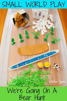 We're Going on a Bear Hunt Story Sensory Bin for Small World Play – Homeschool Creations We're Going on a Bear Hunt Story Sensory Bin for Small World Play Love this for toddlers and preschoolers – We're Going On A Bear Hunt Small World Play Idea Toddlers And Preschoolers, Sensory Bins, Sensory Play, Toddler Preschool, Toddler Activities, Summer Activities, Family Activities, World Book Day Activities, World Book Day Ideas