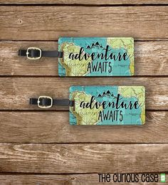 Luggage Tag Set Adventure Awaits Vintage Map от CuriousCaseGifts
