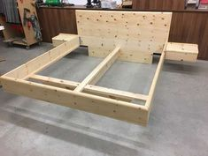 PinewoodPinewoodWhy buy when you can build? Here are plans for building a platform bed frame . - The Best Latex MattressesWhy buy when you can build? Here are plans for building a platform bed frame Wood Bed Design, Bed Frame Design, Bedroom Bed Design, Master Bedroom, Bed Furniture, Pallet Furniture, Furniture Projects, Furniture Design, Platform Bed Designs